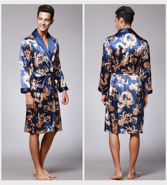 Luxurious Sexy Male Kimono Mens Silk Satin Pajamas for Men Bathrobe Gold Dragon Sleepwear Dressing Gowns Pijama Hombre D7-AE-63-ivroe