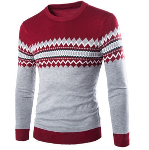 2018 Brand New Sweaters Men Fashion Style Autumn Winter Patchwork Knitted Quality Pullover Men O-Neck Casual Men Sweater XXL-ivroe