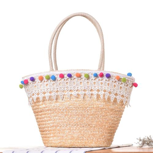 XMESSUN 2018 Knitted Straw Bag Summer Lace Ball Bohemia Fashion Women's Handbags Casual Shoulder Bags Beach Bag Big Tote Bag C22-ivroe