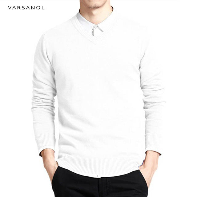 Varsnaol New Brand Sweater Men V-Neck Solid Slim Fit Knitting Mens Sweaters Cardigan Male 2018 Autumn Fashion Casual Tops Hots-ivroe