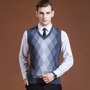 Sweater Pullover Knit Vest for Men Sleeveless Wool Stylish Fashion Casual V Neck Basic Plaids Checkered Blue Grey 2018 2016C015-ivroe