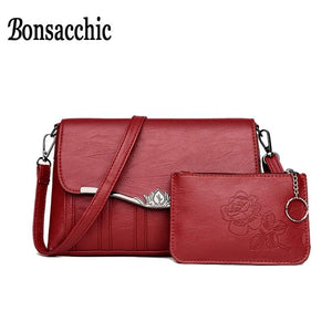 Bonsacchic Small Women Shoulder Bag Set Female Clutch Purse Lady's Leather Crossbody Bags for Women 2018 Bags and Clutches-ivroe