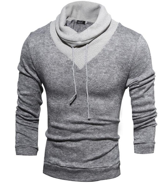 Male Sweater Pullover Men Male Brand Casual Slim Sweaters Men Thin Delta Stitching Hedging High Collar Men'S Sweater XXL-ivroe