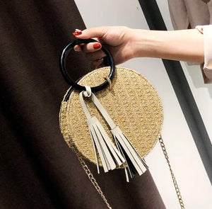 2 bag 2018 Summer Fashion New Handbag Hand-woven Straw Female Round Phone bag Portable Beach bag High quality Chain Shoulder bag-ivroe