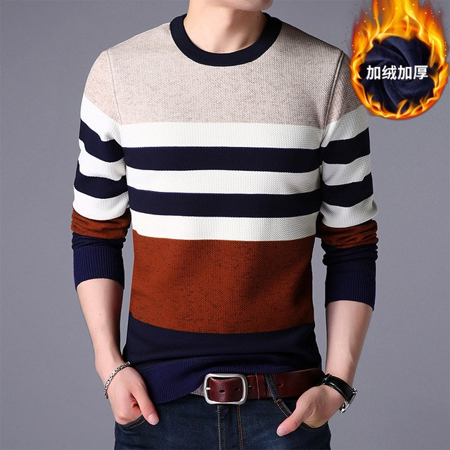 Men sweater winter round collar neck knitting sweaters male casual autumn Cashmere pullovers Thick warm jumper plus size L-4XL-ivroe