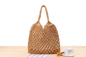 2018 Mesh Rope Weaving Tie Buckle Reticulate Hollow Straw Bag No Lined Net Shoulder Bag Fashion Popular Ins Summer Beach Bag-ivroe
