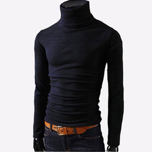 2018 New Autumn Mens Sweaters Casual Male turtleneck Man's Black Solid Knitwear Slim Fit Brand Clothing Sweater-ivroe