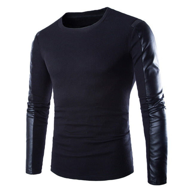 High Quality Brand Men Sweater 2018 PU Leather Cotton Patchwork Pullover Male Casual Long Sleeve Puls Size Jumper Man Clothes-ivroe