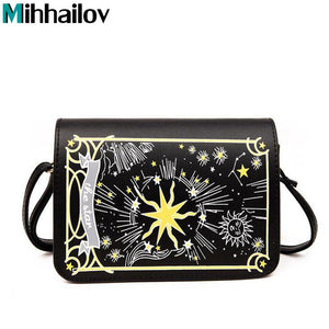 Fashion Chain Shoulder Bag High Quality PU Leather Crossbody Bags Autumn Black / White Tarot Cross Clutch Embroidery Bag XS-309-ivroe