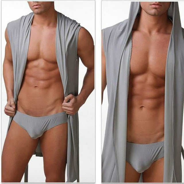 Sexy Men Summer Ice Silk Robe Gown Male Bathrobe Nightgown Men's Sleeveless Hooded Robes Black White Gray Coffee Nightgown-ivroe
