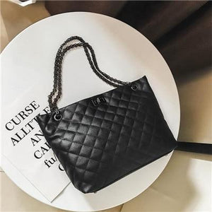 Women Casual Handbag Big Diamond Lattice Chain Bag Large Tote Bag Female Handbags Large Capacity Women Leather Shoulder Bags-ivroe