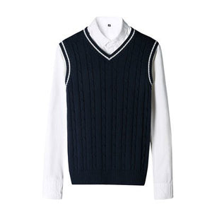New Fashion Brand Clothing 100% Cotton Solid V Neck Casual Male Sweater Pullover Knitted Slim Vest Mens Sleeveless Sweaters Men-ivroe