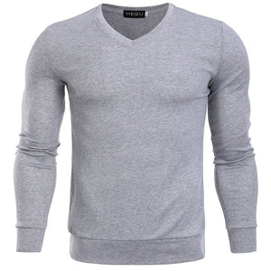 New Solid Color Pullover V Neck Sweater Men Long Sleeve Mens Sweaters 4 colors Casual Tops Brand Thin Knitwear Pullovers-ivroe