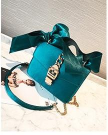 Fashion Women Messenger Bags Velvet Chains Bow tie Ladies Silk Brand Designer Girl Crossbody Shoulder Bags Female Cute Handbag-ivroe