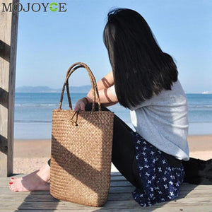2018 Summer Women Fashion Designer Handbags Tote Bags Handbag Wicker Rattan Beach Bag Shoulder Bag Shopping Straw Bucket Bag-ivroe