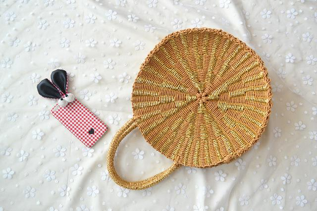 Women Woven Round Rattan Straw Bag Bali Bohemian Beach Circle Handbag Summer Handmade Retro Knitted Gold silver Messenger Bags-ivroe