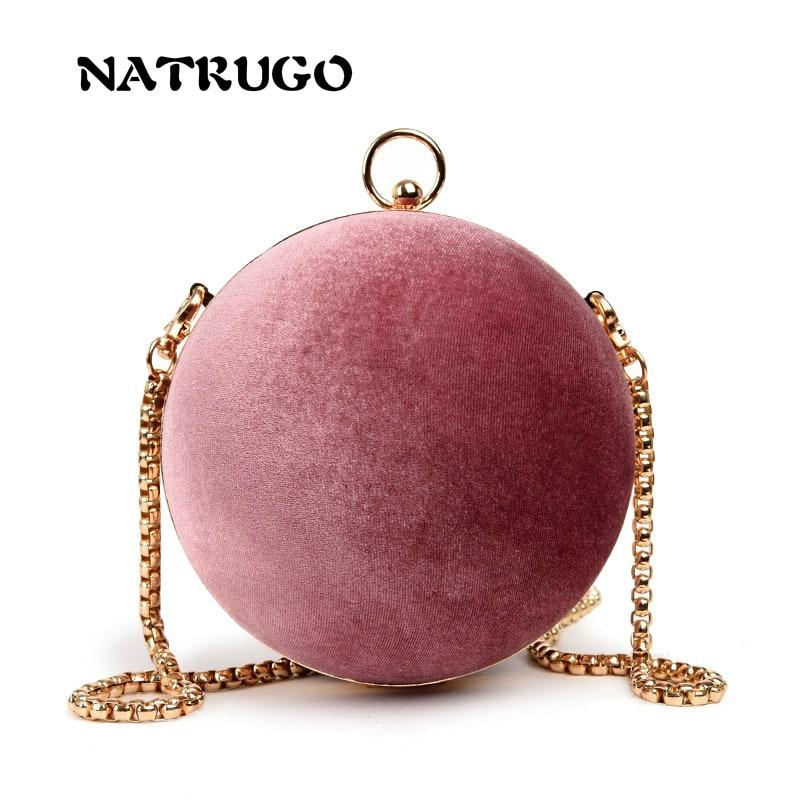 Matte Round Ball Handbags Women Famous Brand Retro Leather Velvet Box Bag Fashion Chain Shoulder Clutches Bags-ivroe