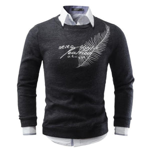 Men Sweater 2018 Brand Round Neck Sweaters Fashion Pullovers Winter Warm Jumpers Feather Embroidery Knitwear Plus Size S-XXL-ivroe