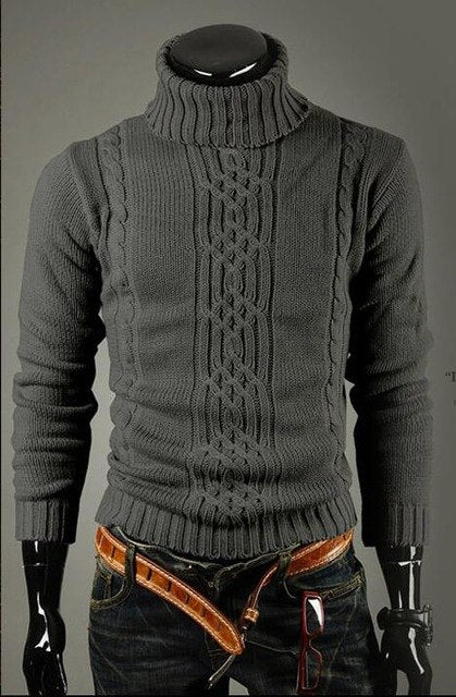 Male Sweater Pullover Men 2018 Male Brand Casual Slim Sweaters Men Solid High Lapel Jacquard Hedging Men'S Sweater XXL STAA-ivroe