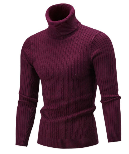 Sweater Pullover Men 2018 Male Brand Casual Solid-Color Knitt Simple Sweaters Men Comfortable Hedging Turtleneck Men'S Sweater-ivroe