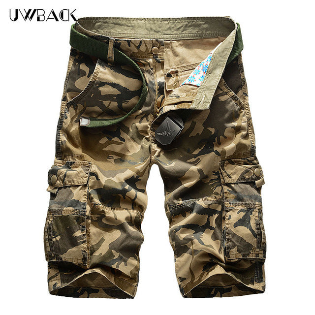LILL |Summer Men Casual Shorts Camouflage Loose Men Cargo Shorts Multi-Pockets Military Short Pants Plus Size 44 Bermuda XAA005-ivroe