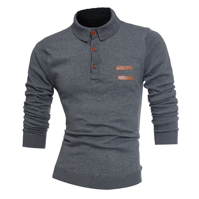 Sweater Solid Color Men 2018 Male Brand Casual Slim High Quality Sweaters Men Hedging Turndown Collar Men'S Sweater XXXL D001-ivroe