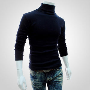 2018 Winter Mens Turtleneck Sweaters Black Pullovers Clothing For Man Cotton Knitted Sweater Male Sweaters Pull Hombre XXXL 50-ivroe