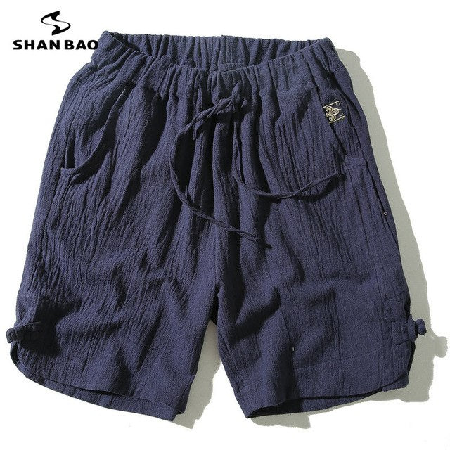 Men's cotton linen loose shorts 2018 summer new Chinese style plate buckle large size solid color leisure beach shorts Men SB009-ivroe