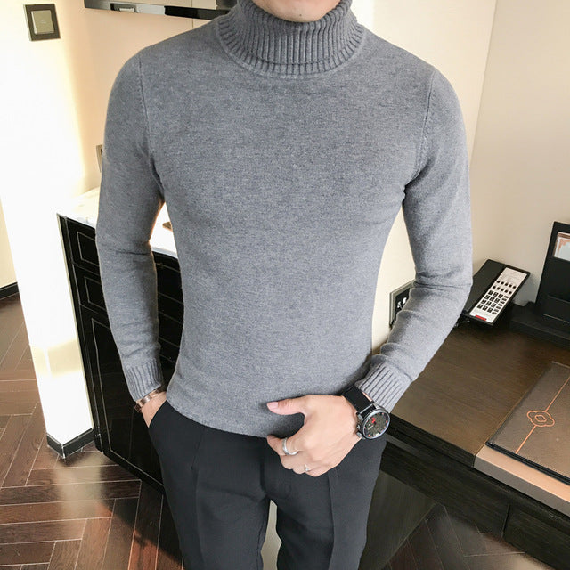 Male Sweater Pullover Male Brand Casual Slim Sweaters Men Solid High Lapel Pure color Sweater high quality fashion sweater-ivroe