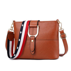 Female Designer Luxury Women Leather shoulder bags Multi-pocket Wide Strap ladies bucket Messenger Crossbody Bags Bolsos Seasons-ivroe