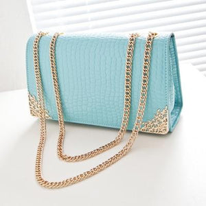 Free shipping, 2018 new summer trend women bag, han edition crocodile lines handbags, gold chain retro women messenger bags.-ivroe