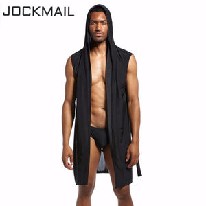JOCKMAIL Men's robe silk male bathrobe mens kimono masculino men pijamas lounge nightgown robe set and sexy briefs gay underwear-ivroe