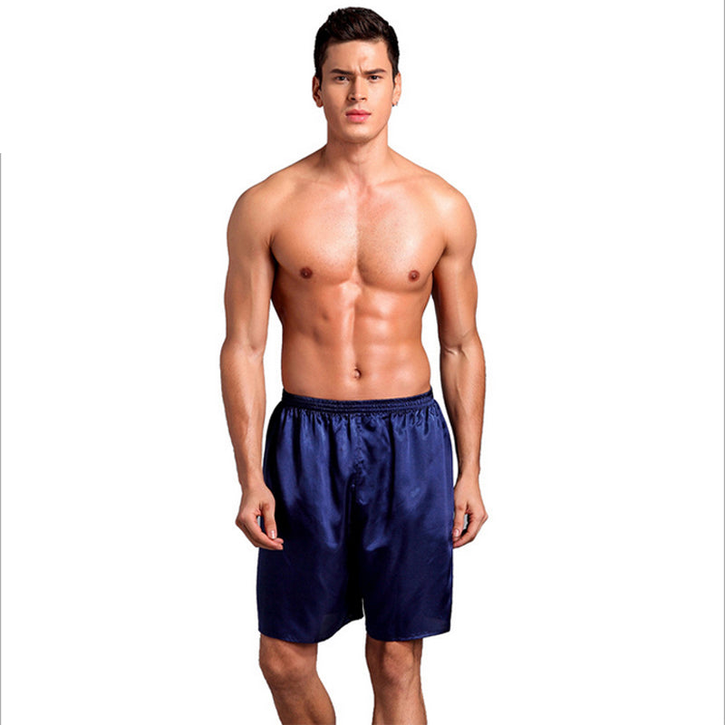 Men Sexy Silk Satin Sleep Bottoms Solid Lounge Pants Soft Pijama Short Summer Sleeping Shorts Home Pajama Pants Sleep Pants-ivroe