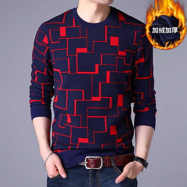 Mens sweaters wool warm pullovers Autumn Winter Tops knitted Long Sleeve Round Neck Male Printed stitching Sweater Clothing 4XL-ivroe