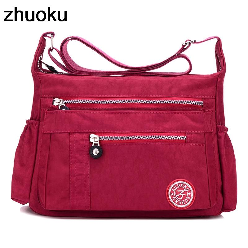ZHUOKU Luxury Women Messenger Bag Waterproof Nylon Shoulder Bags Ladies Bolsa Feminina Travel Bag Women's Crossbody Bag-ivroe