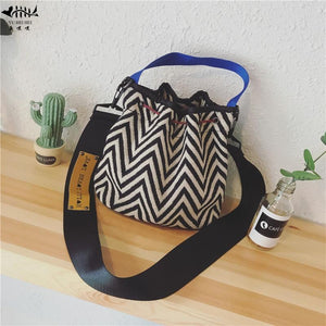 New Mini Women Bucket Cross body Tote Bag Fashion National Pop Striped Girl Lady Bags Purse free shipping-ivroe