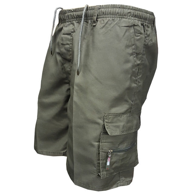 2018 Men Multi Pocket Military Cargo Shorts Casual Cotton Loose Knee Length Army Tactical Shorts Homme Summer Male Sweatpants-ivroe
