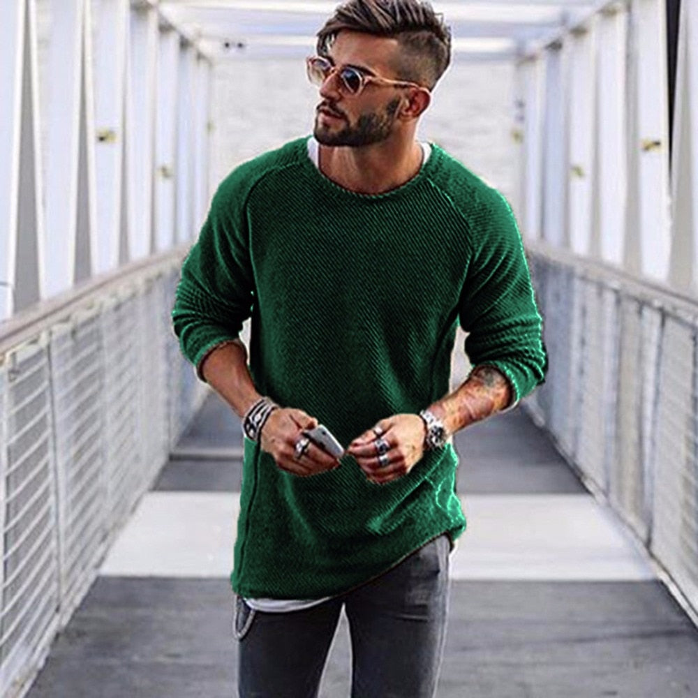 Men Sweater Autumn Winter Knitted Solid Simply Style Pullover Casual Loose O Neck Sweater Jumper Male Black Outerwear brand 2018-ivroe