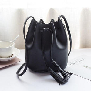 BERAGHINI Tassel Shoulder Bags Girls PU Leather Retro Woman Crossbody Bags Solid Color Fashion Drawstring Female Bags-ivroe