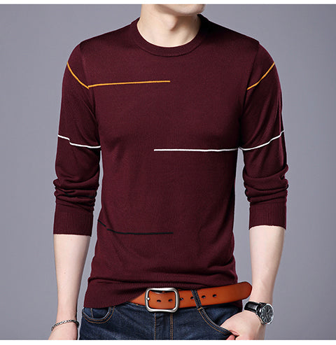 New 2018 pullover men sweater solid color long mens knitted slim Round neck sweaters men pull homme Asian size M-XXXL-ivroe