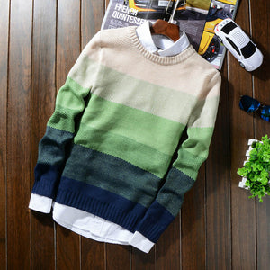 2018 Autumn Winter Wool Striped Sweater Mens Brand Casual Blue Male Sweater O-Neck Slim Fit Knitting Men Sweaters Pullovers 50-ivroe