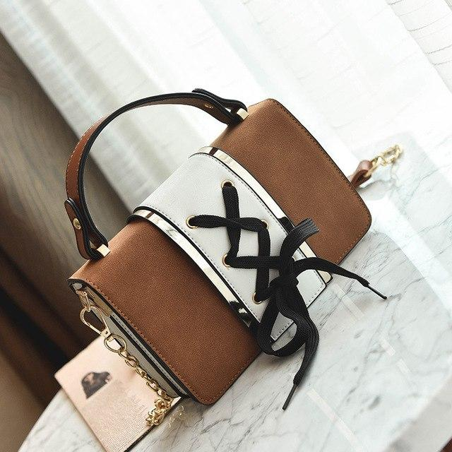 Bow Lace Designer Shoulder Bag Women Handbag Flap Chain Patchwork Ladies Purse Crossbody Bags Messenger Female Purses Pu Leather-ivroe