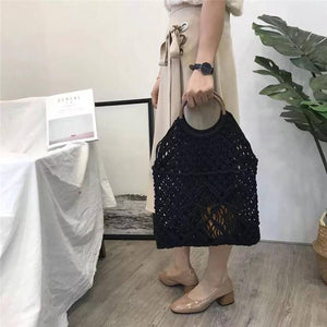 Cotton Rope Hollow Straw Bag Sheer Macrame Tote with a natural look wooden Circle handles Mini Dress Net Bag Vintage Retro Chic-ivroe