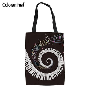Coloranimal Women Reusable Casual Canvas Bags 2018 Fashion Design Music Notes with Piano Keyboard Print Hand Linen Shopping Bags-ivroe