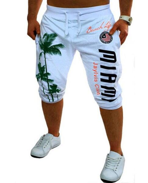 2018 Mens Shorts Casual Bermuda Brand Coconut Pattern Compression Male Cargo Shorts Men Linen Fashion Men Short Summer Linen XXL-ivroe