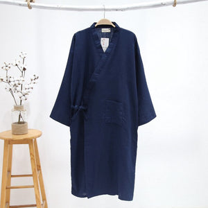 Pure black kimono robes men 100% gauze cotton simple nightwear Summer SPA roupas kimono japanese male bathrobes pyjama hombre-ivroe