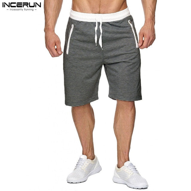 INCERUN Summer Casual Men Shorts Male Sweatpants Fitness Joggers Short Gyms With Zipper Pockets Men Bodybuilding Shorts Brand-ivroe