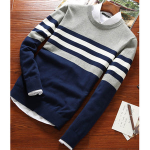 Sweater Men 2018 New Arrival Casual Pullover Men Autumn Round Neck Patchwork Quality Knitted Brand Male Sweaters B02745-ivroe