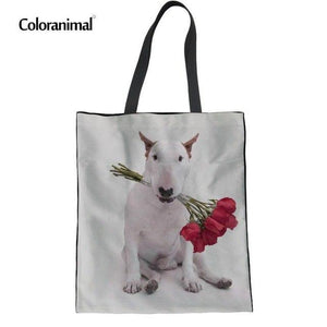 Coloranimal Cute Dachshund Dog Pattern Women Handbags Fashion Female Casual Canvas School Bookbags Girl Hand Linen Shoulder Bag-ivroe