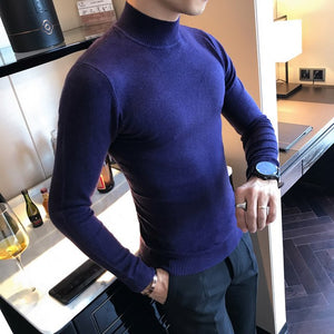2017 High Quality Autumn Winter Candy Color in the end of the Collar Pure Color Slim Comfortable Semi-high collar Sweater-ivroe